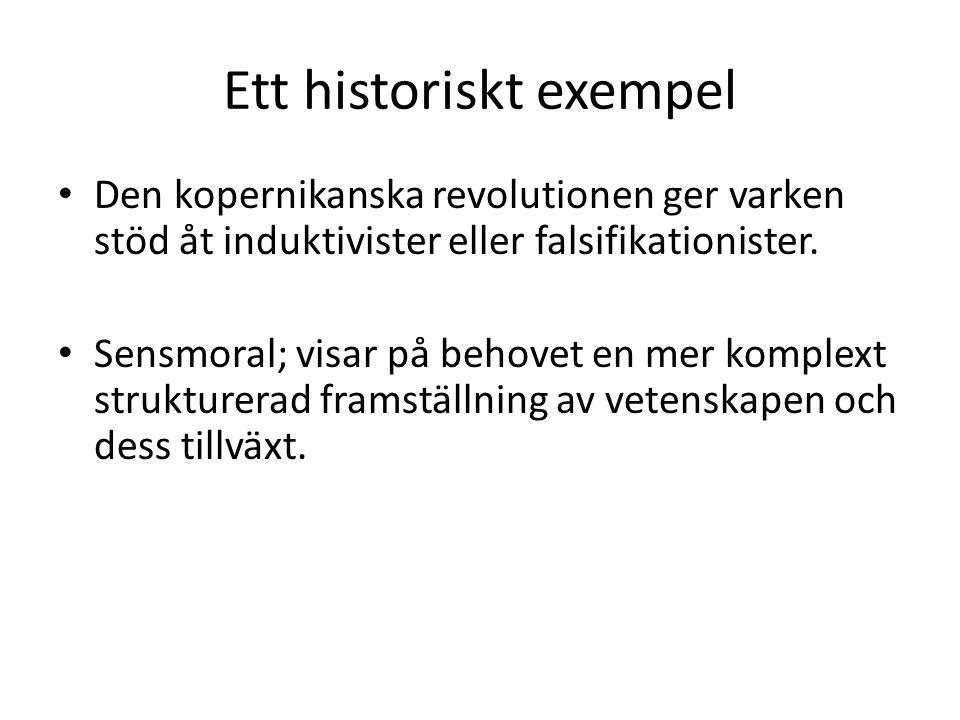 Ett historiskt exempel Den kopernikanska revolutionen ger varken stöd åt induktivister eller falsifikationister.