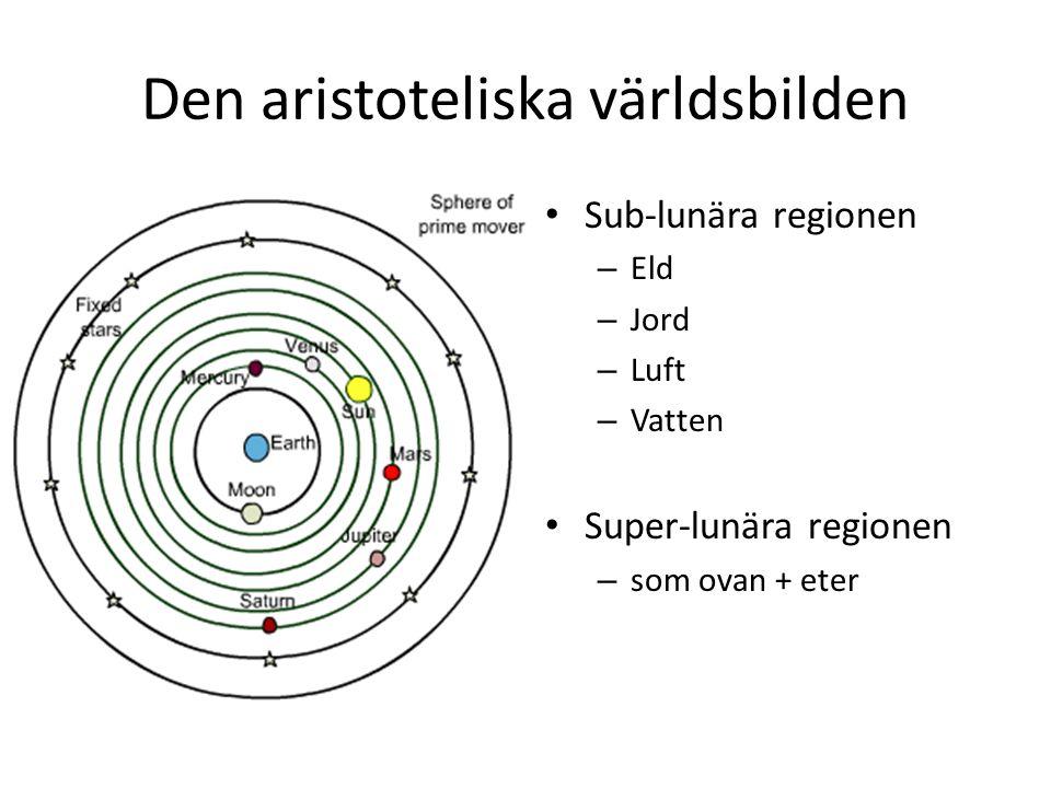 Den aristoteliska världsbilden Sub-lunära regionen – Eld – Jord – Luft – Vatten Super-lunära regionen – som ovan + eter
