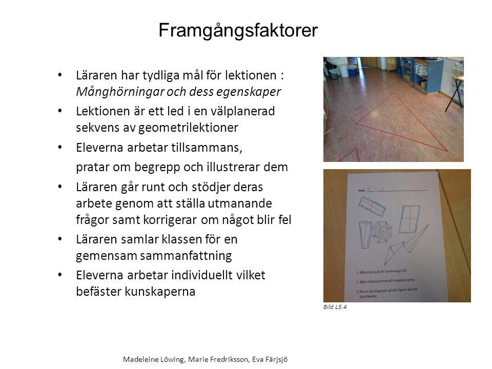 Framgångsfaktorer Läraren har tydliga mål för lektionen : Månghörningar och dess egenskaper Lektionen är ett led i en välplanerad sekvens av geometril