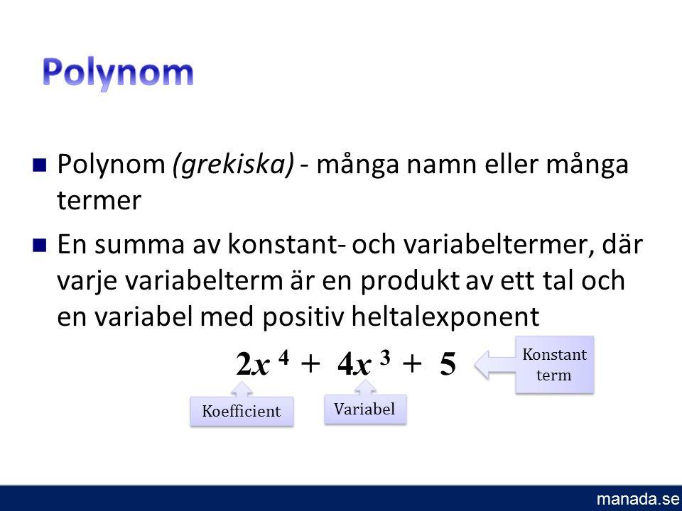 Polynom (grekiska) - många namn eller många termer En summa av konstant- och variabeltermer, där varje variabelterm är en produkt av ett tal och en variabel med positiv heltalexponent 2x 4 + 4x 3 + 5 Koefficient Variabel Konstant term manada.se