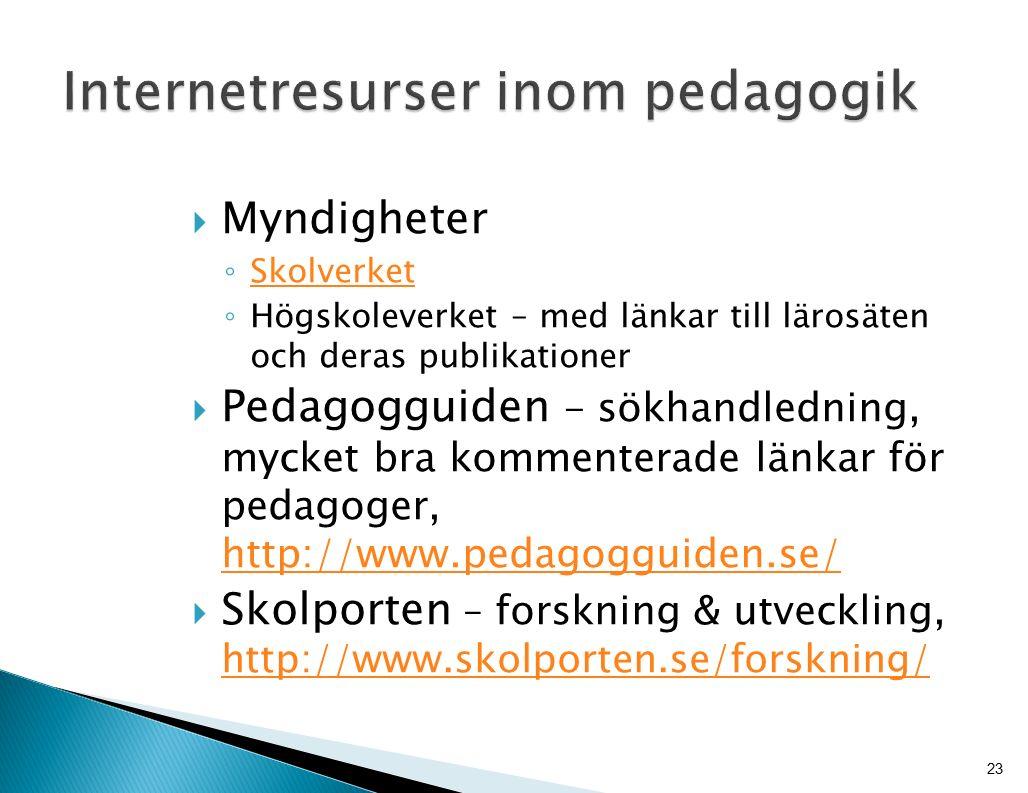  Myndigheter ◦ Skolverket Skolverket ◦ Högskoleverket – med länkar till lärosäten och deras publikationer  Pedagogguiden - sökhandledning, mycket bra kommenterade länkar för pedagoger, http://www.pedagogguiden.se/ http://www.pedagogguiden.se/  Skolporten – forskning & utveckling, http://www.skolporten.se/forskning/ http://www.skolporten.se/forskning/ 23