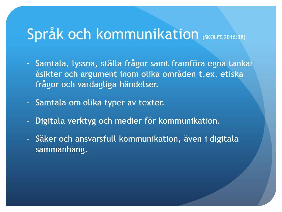 Språk och kommunikation (SKOLFS 2016:38) -Samtala, lyssna, ställa frågor samt framföra egna tankar åsikter och argument inom olika områden t.ex.