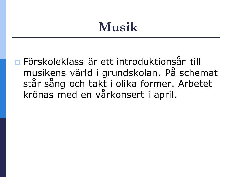 Musik  Förskoleklass är ett introduktionsår till musikens värld i grundskolan.