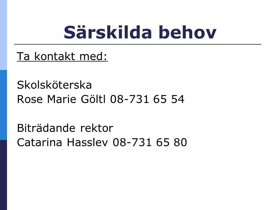 Särskilda behov Ta kontakt med: Skolsköterska Rose Marie Göltl 08-731 65 54 Biträdande rektor Catarina Hasslev 08-731 65 80