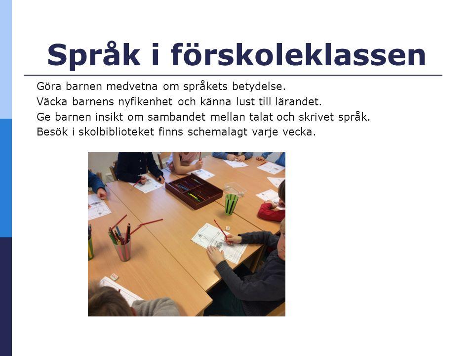 Språk i förskoleklassen Göra barnen medvetna om språkets betydelse.