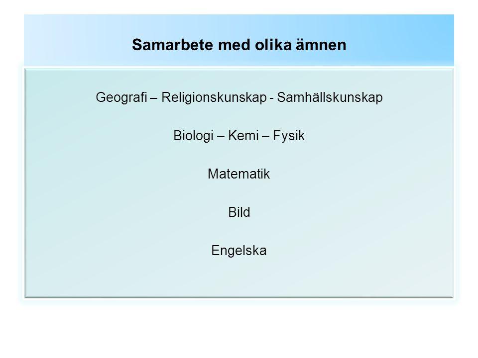 Samarbete med olika ämnen Geografi – Religionskunskap - Samhällskunskap Biologi – Kemi – Fysik Matematik Bild Engelska