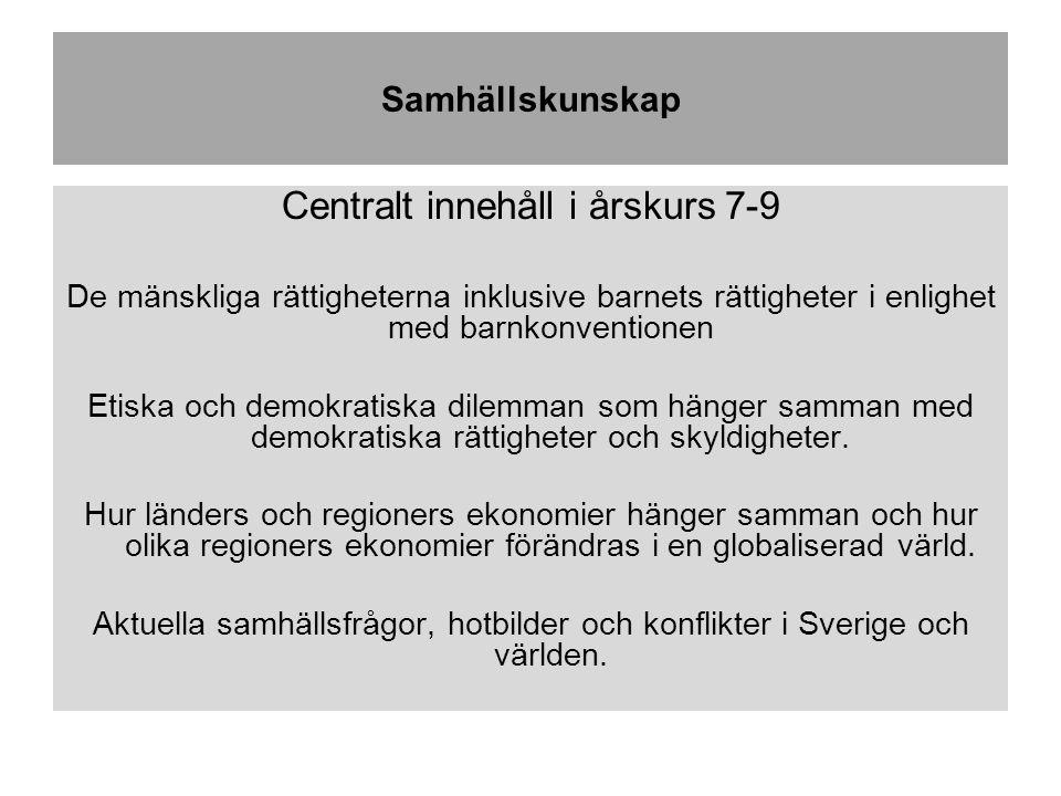 Samhällskunskap Centralt innehåll i årskurs 7-9 De mänskliga rättigheterna inklusive barnets rättigheter i enlighet med barnkonventionen Etiska och demokratiska dilemman som hänger samman med demokratiska rättigheter och skyldigheter.