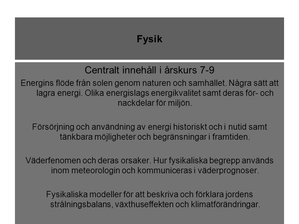 Fysik Centralt innehåll i årskurs 7-9 Energins flöde från solen genom naturen och samhället.