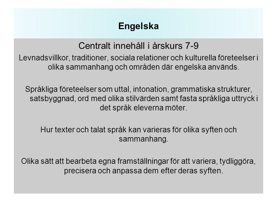 Engelska Centralt innehåll i årskurs 7-9 Levnadsvillkor, traditioner, sociala relationer och kulturella företeelser i olika sammanhang och områden där engelska används.