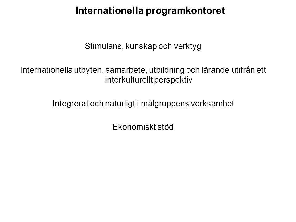 Internationella programkontoret Stimulans, kunskap och verktyg Internationella utbyten, samarbete, utbildning och lärande utifrån ett interkulturellt perspektiv Integrerat och naturligt i målgruppens verksamhet Ekonomiskt stöd