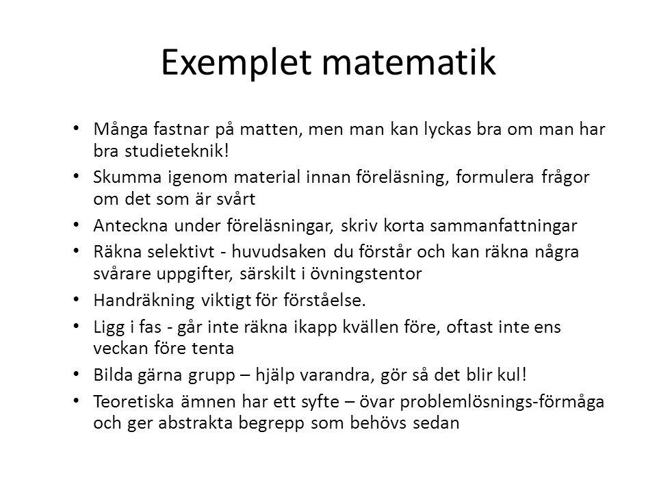 Exemplet matematik Många fastnar på matten, men man kan lyckas bra om man har bra studieteknik.