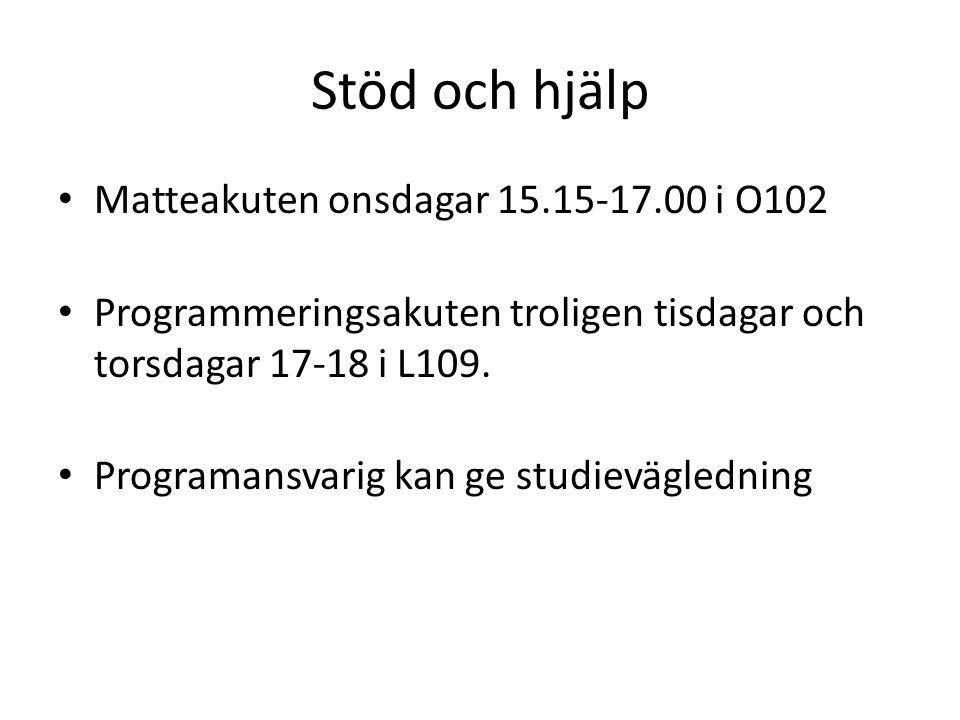Stöd och hjälp Matteakuten onsdagar 15.15-17.00 i O102 Programmeringsakuten troligen tisdagar och torsdagar 17-18 i L109.