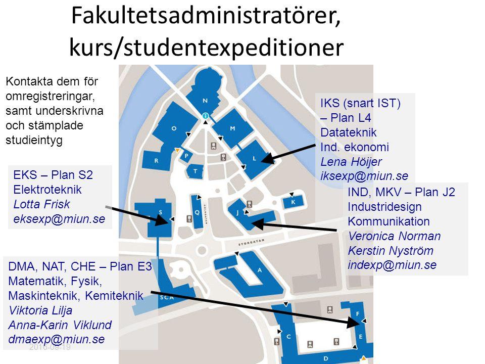 Fakultetsadministratörer, kurs/studentexpeditioner 2016-09-19 IKS (snart IST) – Plan L4 Datateknik Ind.