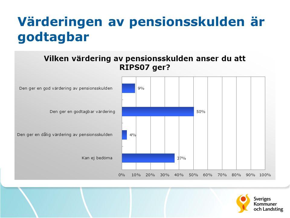 Värderingen av pensionsskulden är godtagbar