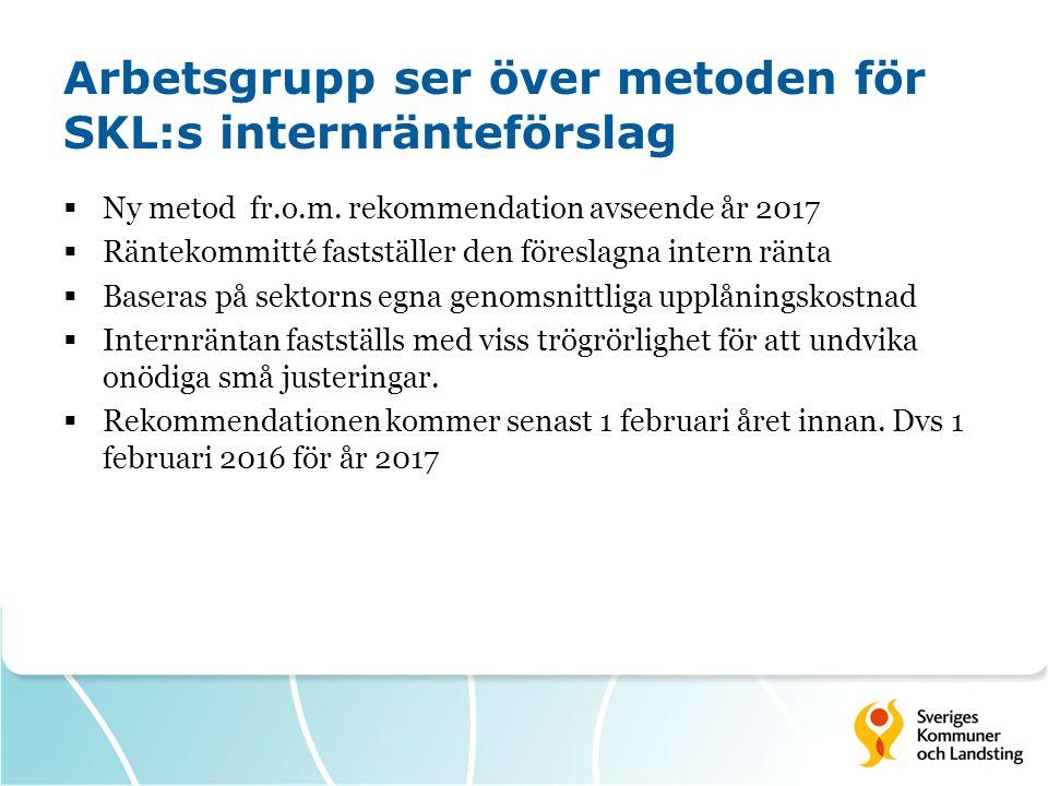 Arbetsgrupp ser över metoden för SKL:s internränteförslag  Ny metod fr.o.m.