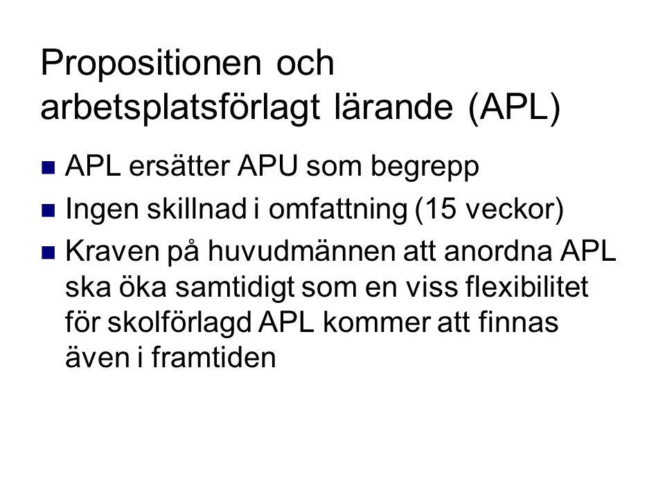 Propositionen och arbetsplatsförlagt lärande (APL) APL ersätter APU som begrepp Ingen skillnad i omfattning (15 veckor) Kraven på huvudmännen att anordna APL ska öka samtidigt som en viss flexibilitet för skolförlagd APL kommer att finnas även i framtiden