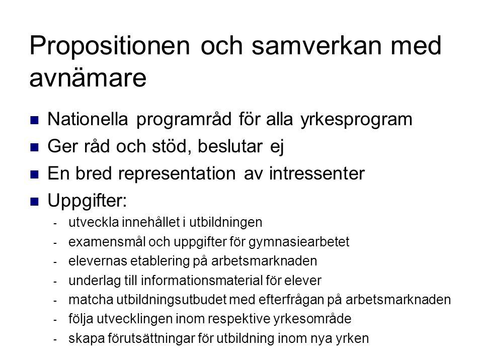 Propositionen och samverkan med avnämare Nationella programråd för alla yrkesprogram Ger råd och stöd, beslutar ej En bred representation av intressen