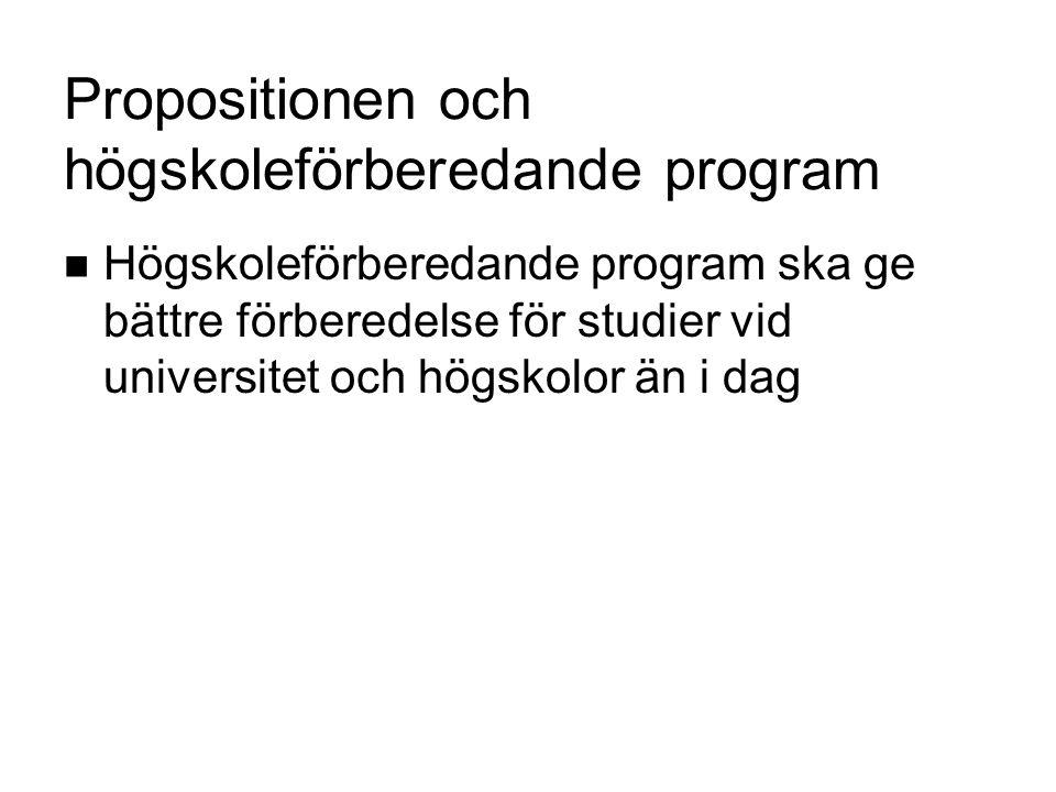 Propositionen och de sex högskoleförberedande programmen Ekonomiprogrammet Estetiska programmet Humanistiska programmet Naturvetenskapsprogrammet Samhällsvetenskapsprogrammet Teknikprogrammet