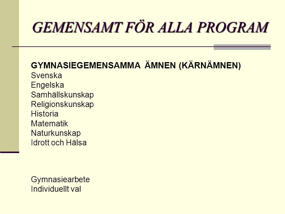 GEMENSAMT FÖR ALLA PROGRAM GYMNASIEGEMENSAMMA ÄMNEN (KÄRNÄMNEN) Svenska Engelska Samhällskunskap Religionskunskap Historia Matematik Naturkunskap Idrott och Hälsa Gymnasiearbete Individuellt val