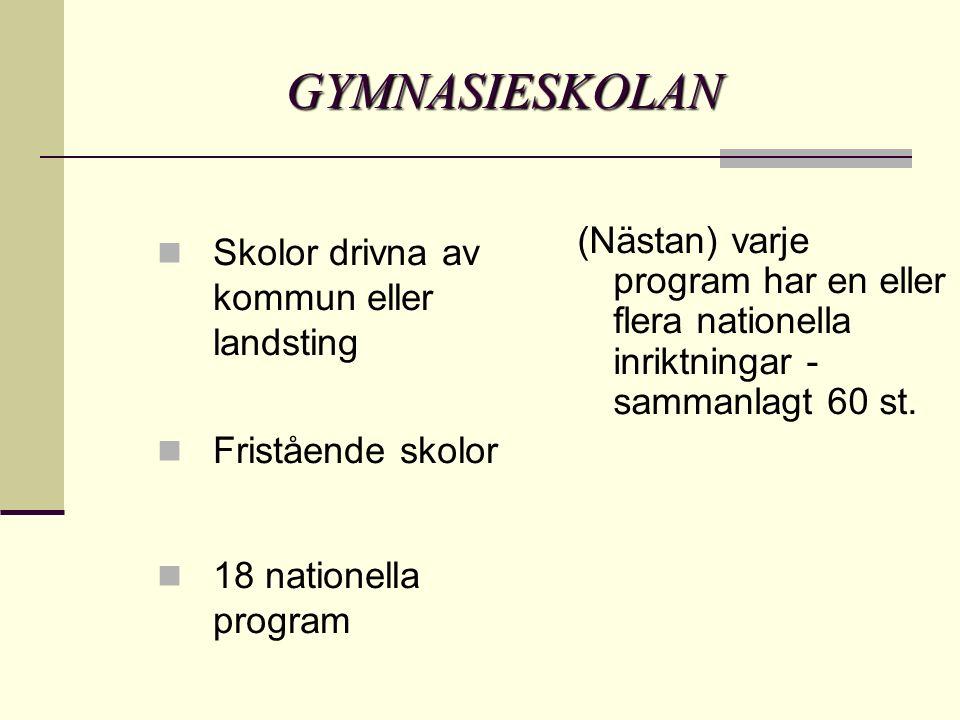 ETT ALTERNATIV– TRE VAL Du ska välja – Program – Inriktning – Skola Tex: Estetiska Programmet Musik Rytmus Gymnasium