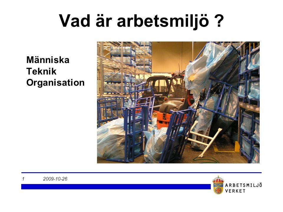 2009-10-261 Vad är arbetsmiljö ? Människa Teknik Organisation