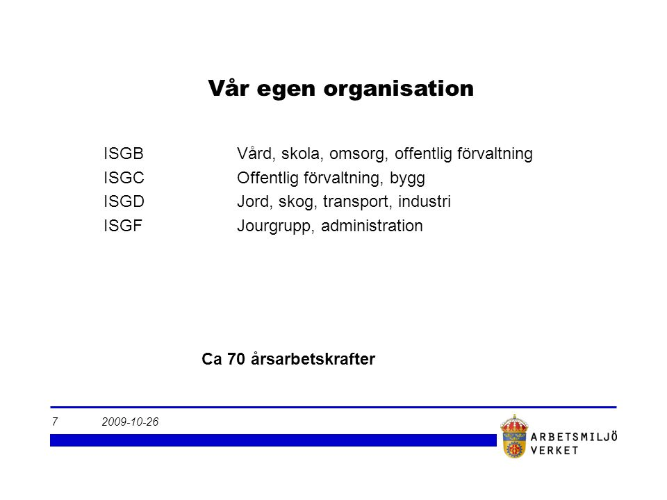 2009-10-267 Vår egen organisation Ca 70 årsarbetskrafter ISGBVård, skola, omsorg, offentlig förvaltning ISGCOffentlig förvaltning, bygg ISGDJord, skog, transport, industri ISGF Jourgrupp, administration