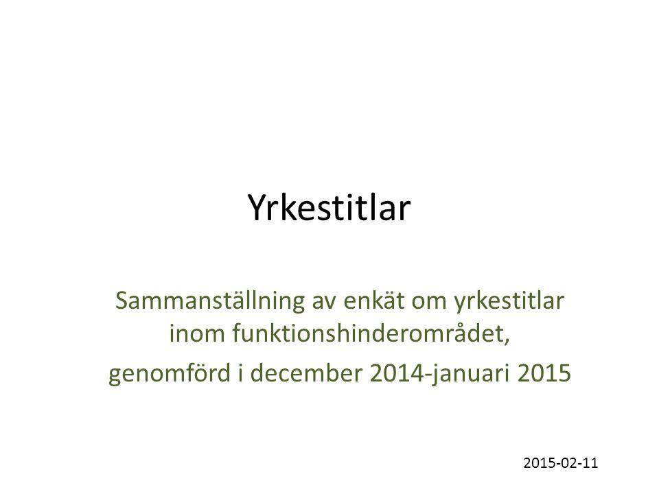 Yrkestitlar Sammanställning av enkät om yrkestitlar inom funktionshinderområdet, genomförd i december 2014-januari 2015 2015-02-11