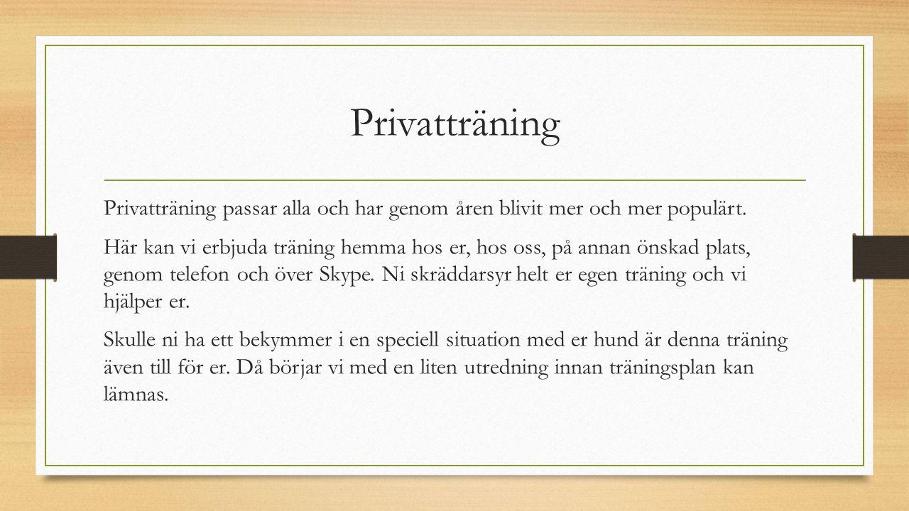 Privatträning Privatträning passar alla och har genom åren blivit mer och mer populärt. Här kan vi erbjuda träning hemma hos er, hos oss, på annan öns