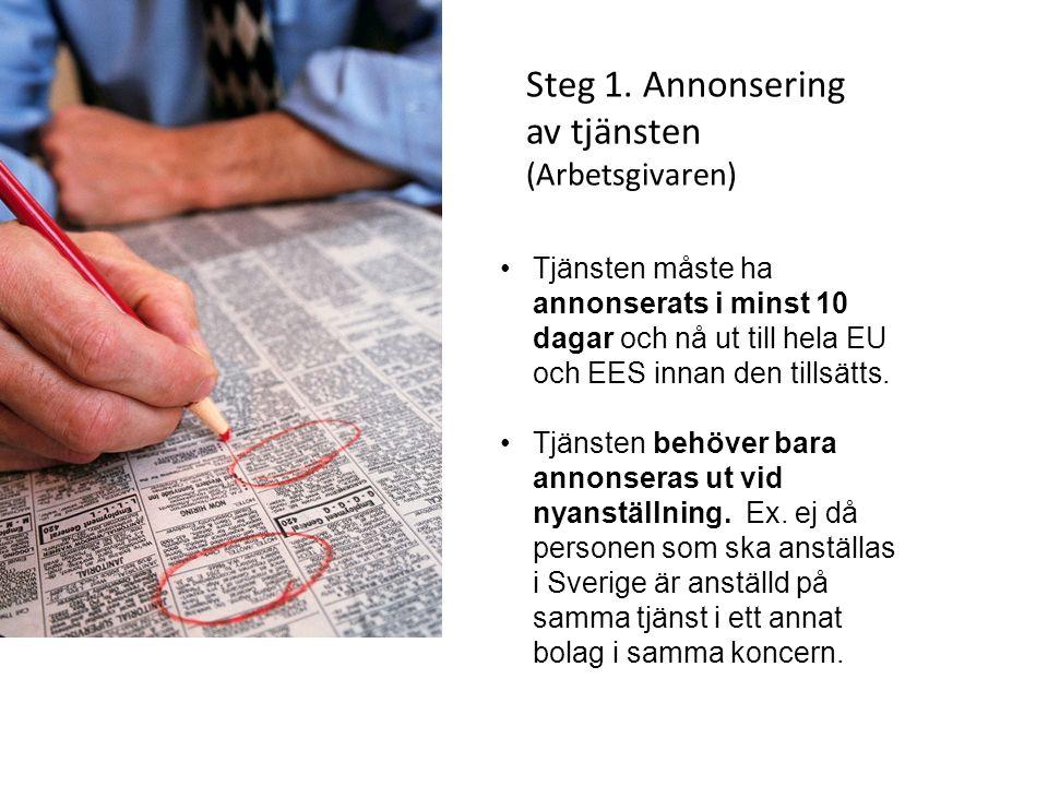 Steg 1. Annonsering av tjänsten (Arbetsgivaren) Tjänsten måste ha annonserats i minst 10 dagar och nå ut till hela EU och EES innan den tillsätts. Tjä