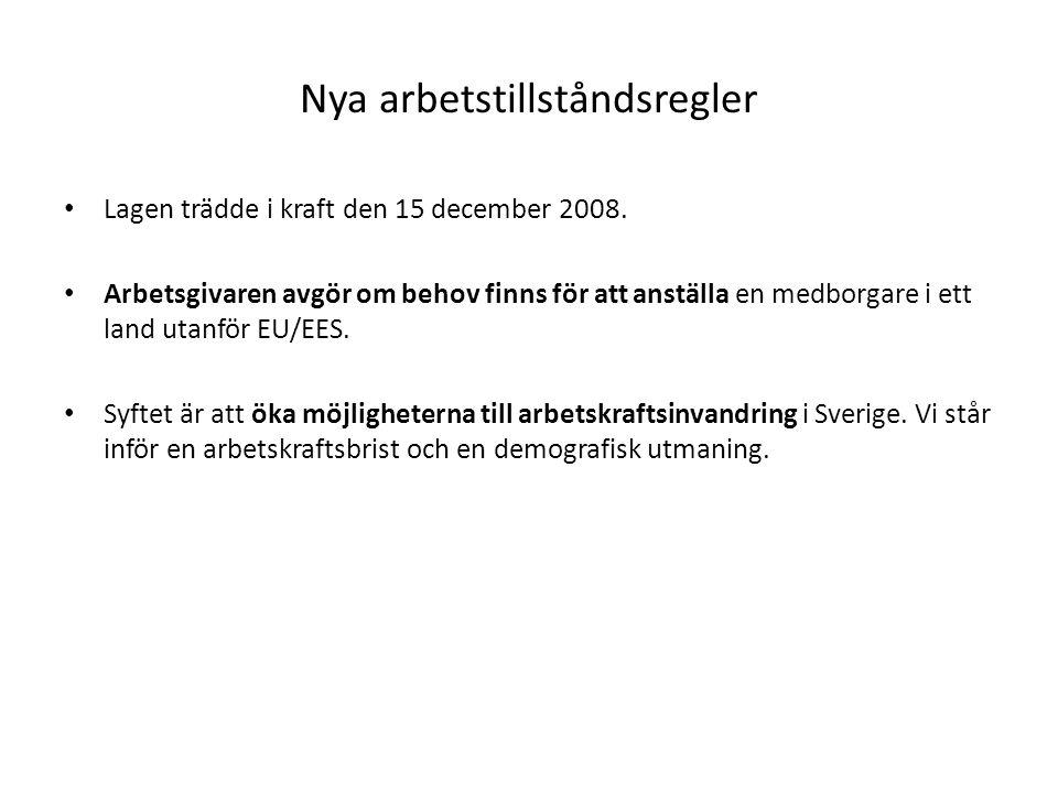 Nya arbetstillståndsregler Lagen trädde i kraft den 15 december 2008. Arbetsgivaren avgör om behov finns för att anställa en medborgare i ett land uta