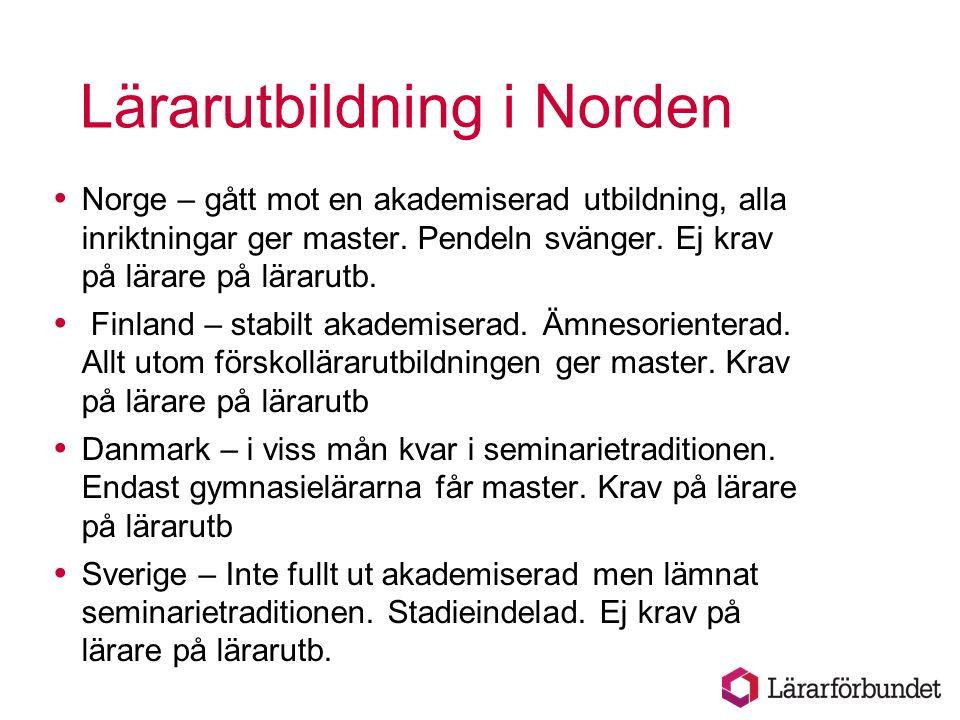 Lärarutbildning i Norden  Norge – gått mot en akademiserad utbildning, alla inriktningar ger master.