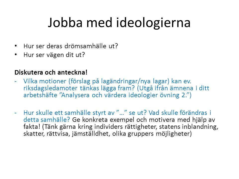 Jobba med ideologierna Hur ser deras drömsamhälle ut? Hur ser vägen dit ut? Diskutera och anteckna! -Vilka motioner (förslag på lagändringar/nya lagar