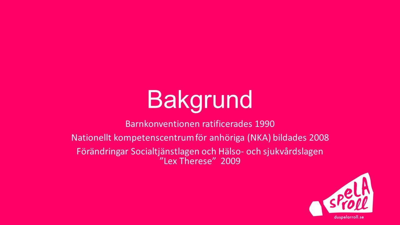 Bakgrund Barnkonventionen ratificerades 1990 Nationellt kompetenscentrum för anhöriga (NKA) bildades 2008 Förändringar Socialtjänstlagen och Hälso- oc