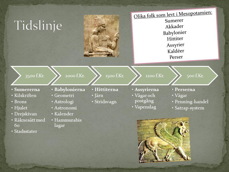 3500 f.Kr. Sumererna Kilskriften Brons Hjulet Drejskivan Räknesätt med 60 Stadsstater 2000 f.Kr.