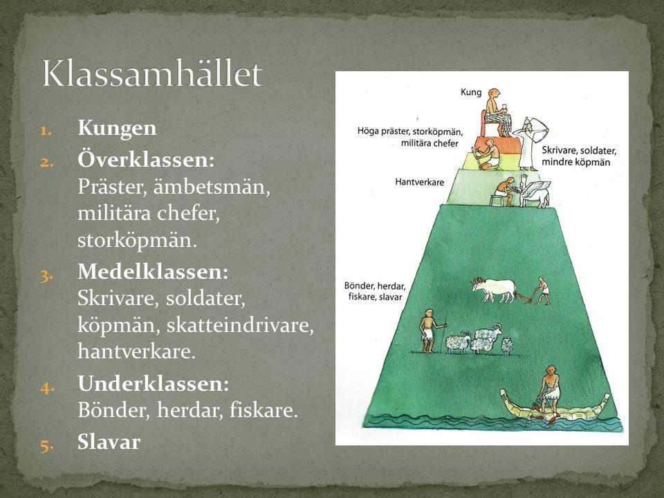 1. Kungen 2. Överklassen: Präster, ämbetsmän, militära chefer, storköpmän.