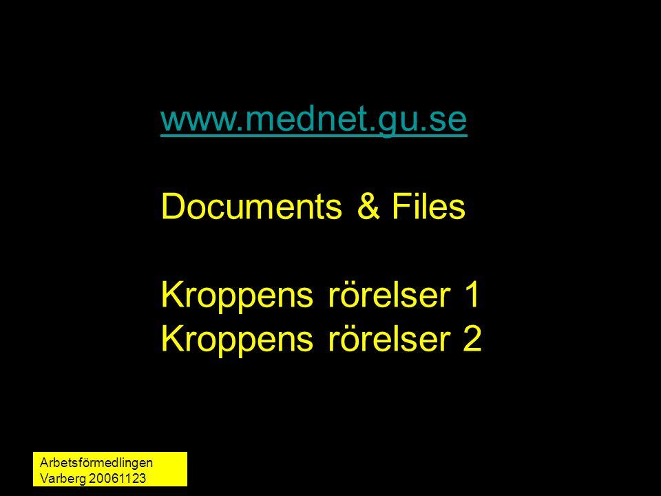 Arbetsförmedlingen Varberg 20061123 martin.rydmark@mednet.gu.se1 www.mednet.gu.se Documents & Files Kroppens rörelser 1 Kroppens rörelser 2
