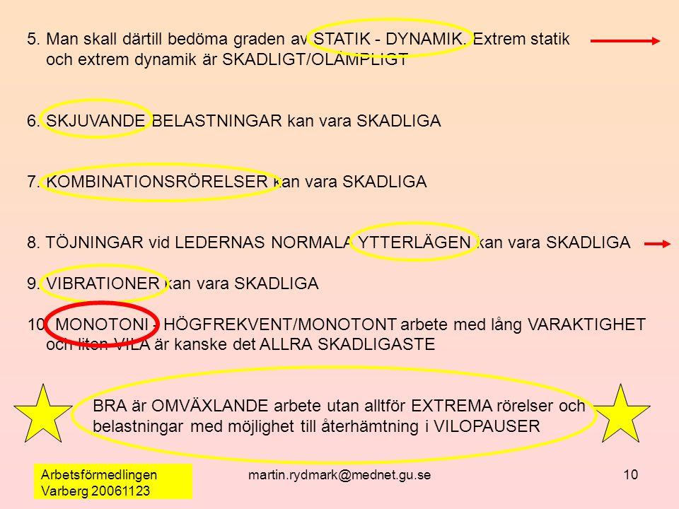 Arbetsförmedlingen Varberg 20061123 martin.rydmark@mednet.gu.se10 5. Man skall därtill bedöma graden av STATIK - DYNAMIK. Extrem statik och extrem dyn