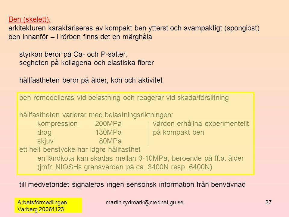 Arbetsförmedlingen Varberg 20061123 martin.rydmark@mednet.gu.se27 Ben (skelett).