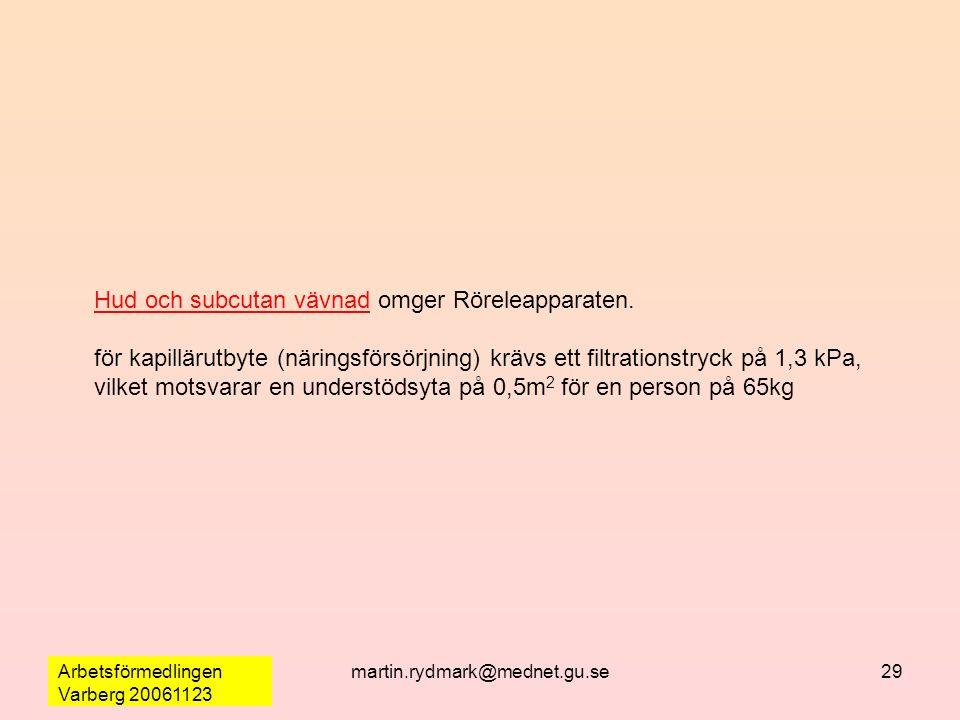 Arbetsförmedlingen Varberg 20061123 martin.rydmark@mednet.gu.se29 Hud och subcutan vävnad omger Röreleapparaten. för kapillärutbyte (näringsförsörjnin