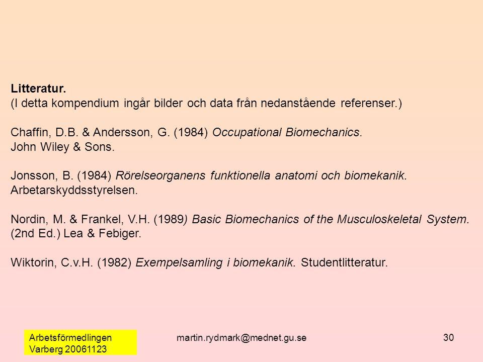 Arbetsförmedlingen Varberg 20061123 martin.rydmark@mednet.gu.se30 Litteratur. (I detta kompendium ingår bilder och data från nedanstående referenser.)