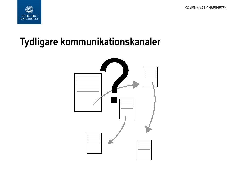 Tydligare kommunikationskanaler KOMMUNIKATIONSENHETEN