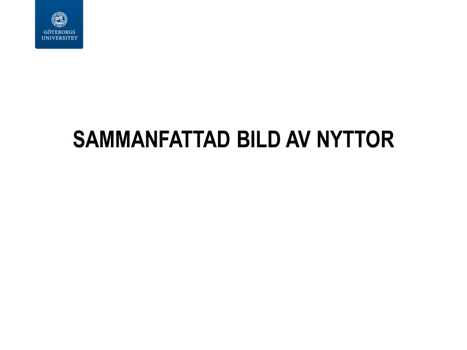 SAMMANFATTAD BILD AV NYTTOR