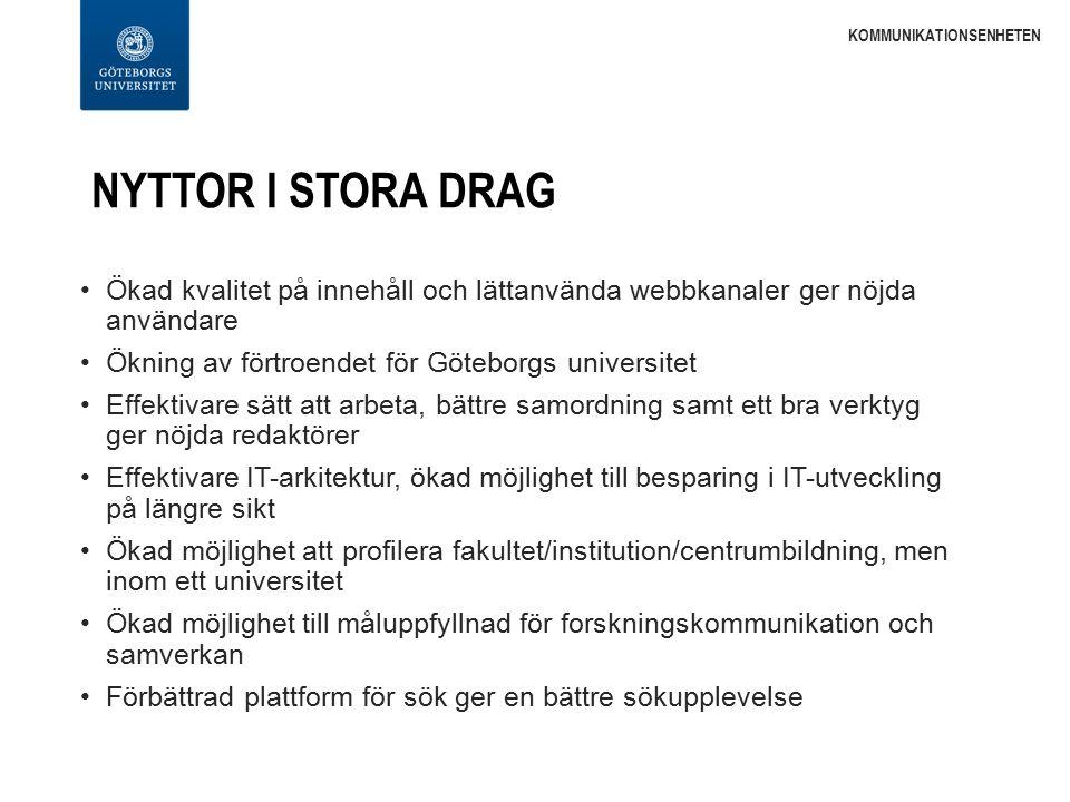 NYTTOR I STORA DRAG Ökad kvalitet på innehåll och lättanvända webbkanaler ger nöjda användare Ökning av förtroendet för Göteborgs universitet Effektiv