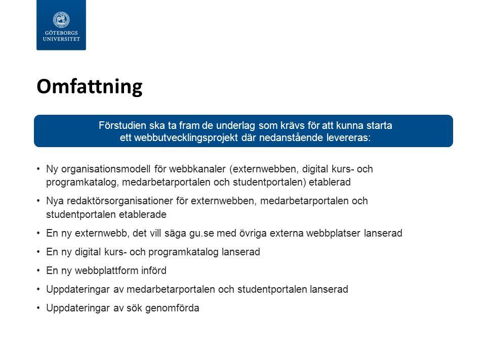 Omfattning Ny organisationsmodell för webbkanaler (externwebben, digital kurs- och programkatalog, medarbetarportalen och studentportalen) etablerad N