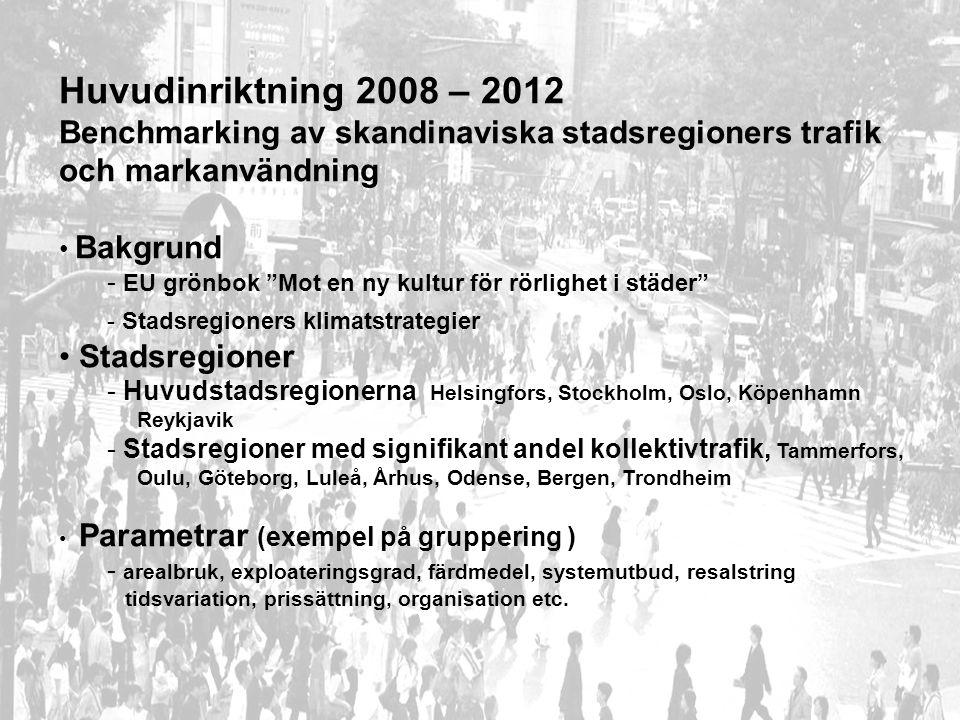 Upplägg Benchmarking Projektgenomförande Uppdelat på två faser 2008 -2010, 2010 – 2012 Konsult upphandlas i vart land Finansiering: Vägförvaltning, stadsregion, miljöministeriet Trafikministeriet, NVF Deluppgifter Projektledning ( finska utskottet + ordförande sekreterarmöte ) Specifikation av parametrar, detaljerat arbetsprogram ( utkast av finska utskottet ) Specifikation av presentationsformat ( utkast finska utskottet ) Insamling och bearbetning av data för varje stadsregion ( vart land ) Analyser, slutledningar ( vart land ) Sammanfattande rapport ( utkast finska utskottet ) Disseminering (3 seminarier 2009 – 2010 ) ( förberedelser i respektive land )