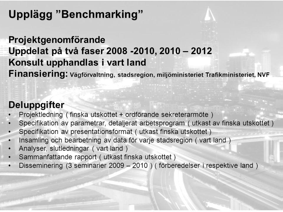"""Upplägg """"Benchmarking"""" Projektgenomförande Uppdelat på två faser 2008 -2010, 2010 – 2012 Konsult upphandlas i vart land Finansiering: Vägförvaltning,"""