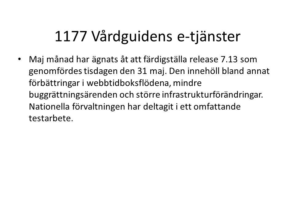 1177 Vårdguidens e-tjänster Maj månad har ägnats åt att färdigställa release 7.13 som genomfördes tisdagen den 31 maj.