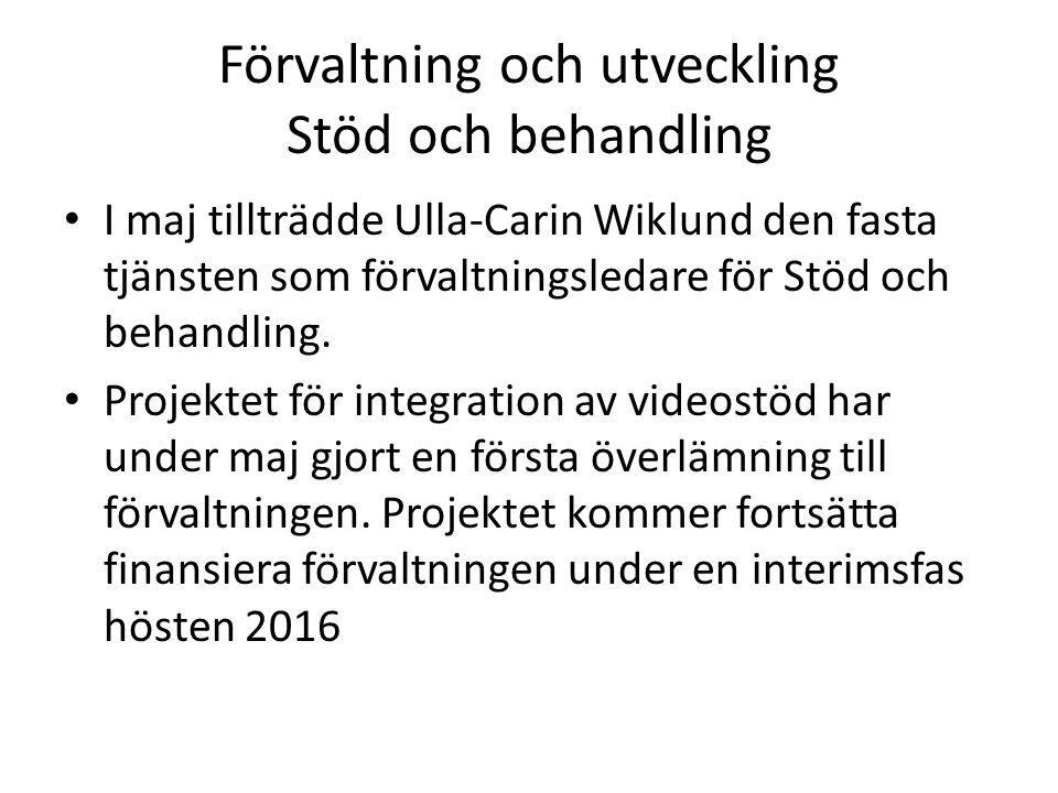 Förvaltning och utveckling Stöd och behandling I maj tillträdde Ulla-Carin Wiklund den fasta tjänsten som förvaltningsledare för Stöd och behandling.