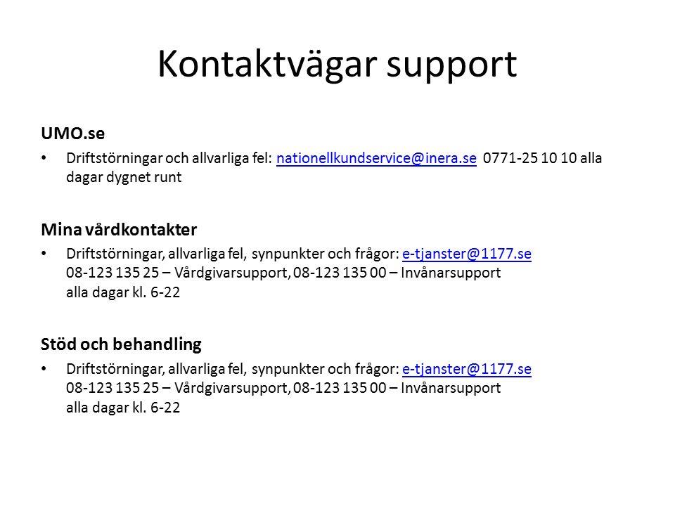 Kontaktvägar support UMO.se Driftstörningar och allvarliga fel: nationellkundservice@inera.se 0771-25 10 10 alla dagar dygnet runtnationellkundservice@inera.se Mina vårdkontakter Driftstörningar, allvarliga fel, synpunkter och frågor: e-tjanster@1177.se 08-123 135 25 – Vårdgivarsupport, 08-123 135 00 – Invånarsupport alla dagar kl.