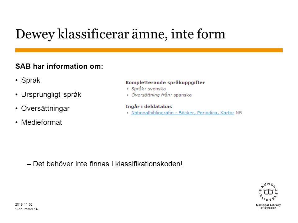 Sidnummer 14 Dewey klassificerar ämne, inte form SAB har information om: Språk Ursprungligt språk Översättningar Medieformat –Det behöver inte finnas